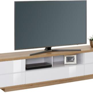 Široká TV skříňka Typ 7714, dub riviera/bílý lesk