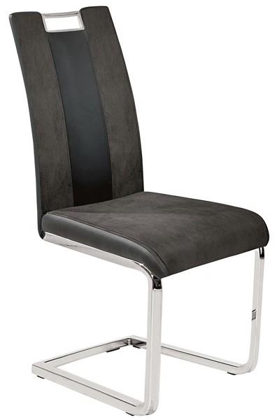 Jídelní židle Bari 1, šedá látka/černá ekokůže