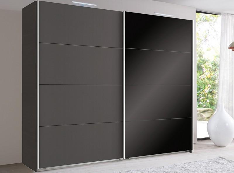 Šatní skříň Easy Plus, 225 cm, grafit/černé sklo