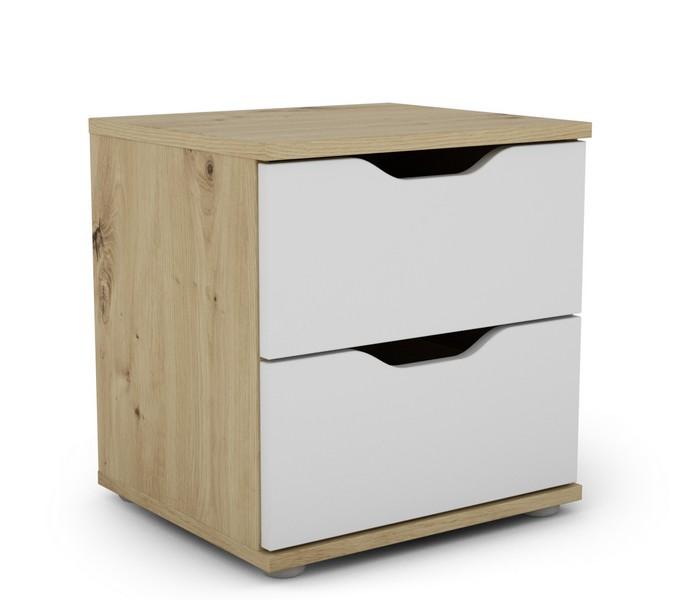 Noční stolek Saga 2S, dub artisan/bílá