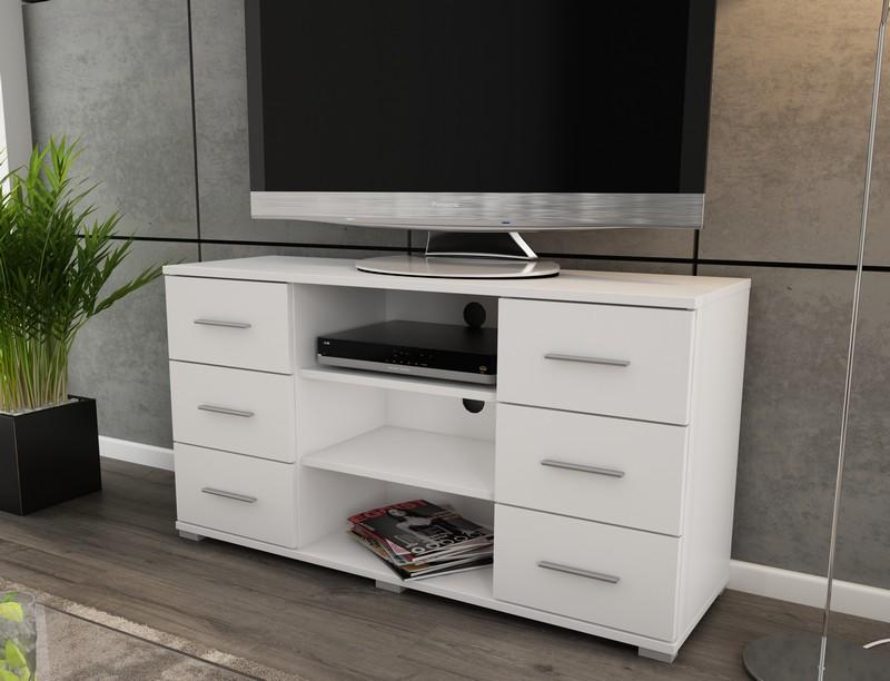 Vysoký TV stolek Oskar TV, bílý, výška 65 cm