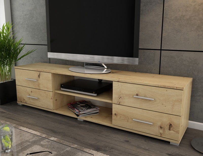 Široký TV stolek Oskar TV, dub artisan, šířka 180 cm