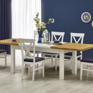 Jídelní stůl rozkládací LEONARDO bílý/medový dub Halmar