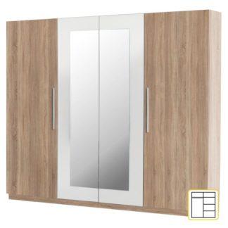 Šatní skříň se zrcadlem MARTINA Tempo Kondela Dub sonoma / bílá
