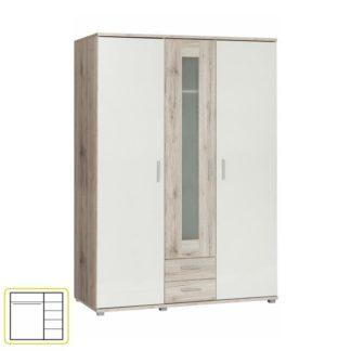 Šatní skříň VALERIA dub pískový / bílá Tempo Kondela
