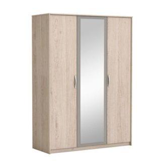Šatní 3-dveřová skříň se zrcadlem GRAPHIC dub arizona / šedá Tempo Kondela