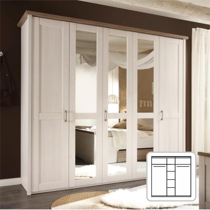 Šatní skříň LUMERA 5-dveřová pinie bílá / dub sonoma trufel Tempo Kondela