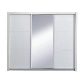 Šatní skříň s posuvnými dveřmi ASIENA 208 bílá vysoký lesk Tempo Kondela