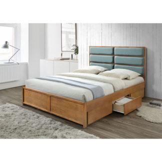 Manželská postel IRISUN dub / mentol Tempo Kondela 160 x 200 cm