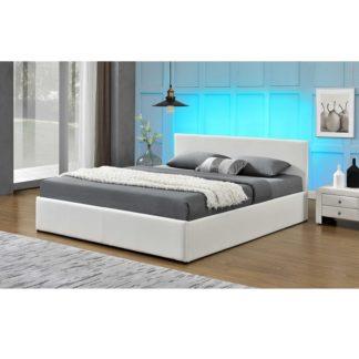 Manželská postel s LED osvětlením JADA NEW bílá Tempo Kondela 183 x 200 cm