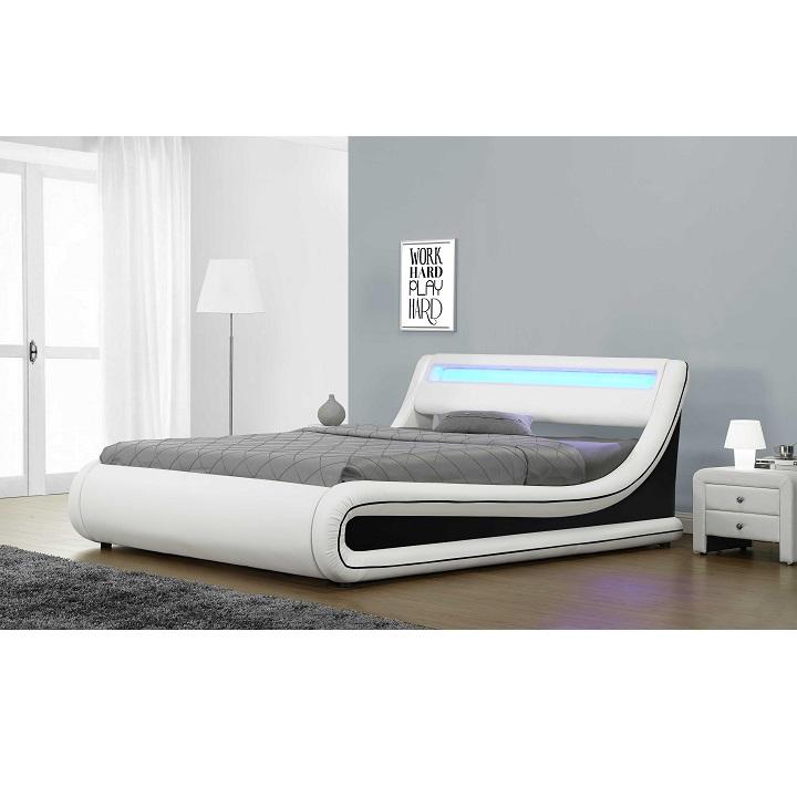 Manželská postel s LED osvětlením MANILA NEW bílá / černá Tempo Kondela 163 x 200 cm