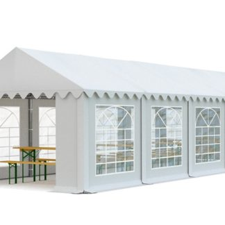 Zahradní párty stan 4x10m bílá EKONOMY - nehořlavý