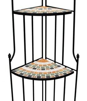 Rohový regál Mosaic, černý/zelený