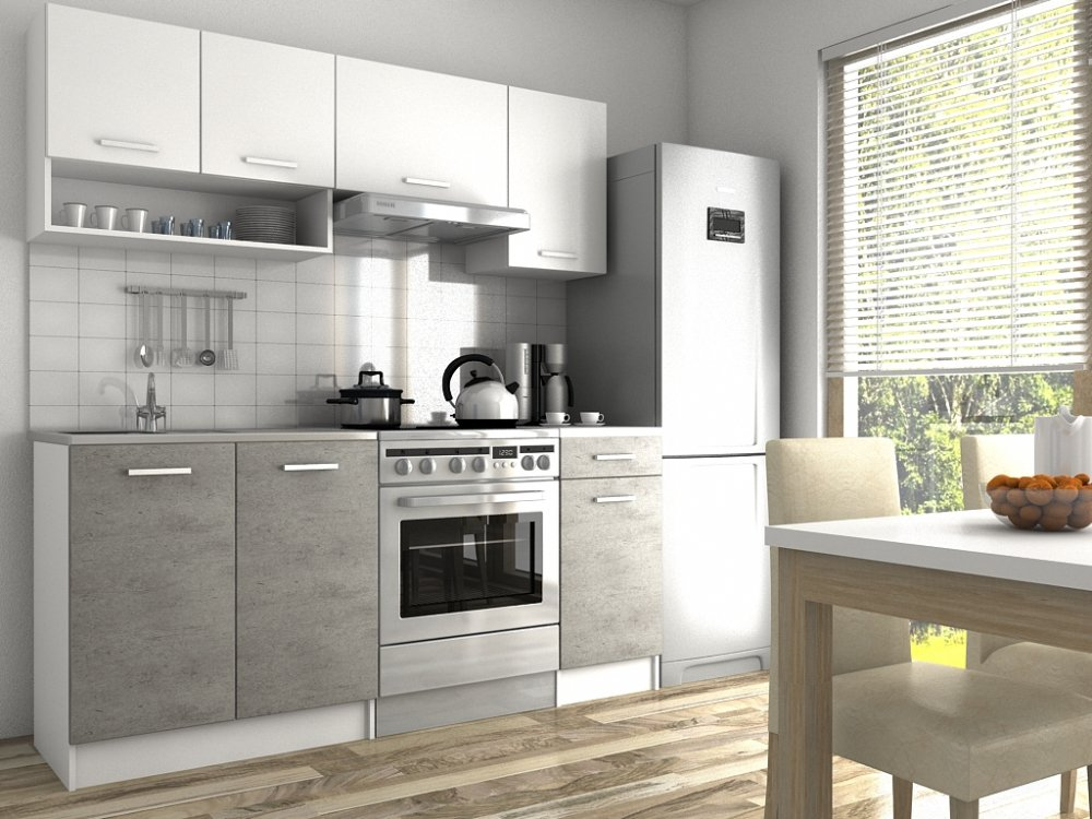 Kuchyňská linka Lulu II 120/180 beton/bílá - FALCO