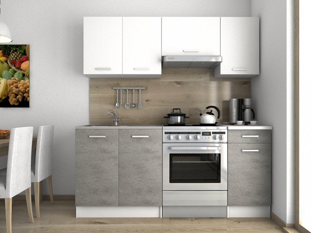 Kuchyňská linka Lulu 120/180 beton/bílá - FALCO