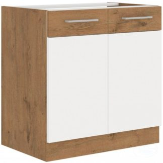 Kuchyňská dolní skříňka Vigo 80D2F dub lancelot/bílý lesk - FALCO