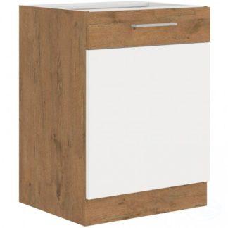 Kuchyňská dolní skříňka Vigo 60D1F dub lancelot/bílý lesk - FALCO