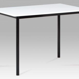 Jídelní stůl 110x70 cm, vysoký lesk bílý / černý lak GDT-222 WT Autronic