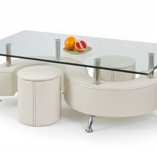 Konferenční stůl NINA 3 H bílá s taburety Halmar