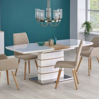 Jídelní stůl rozkládací TORONTO bílý / dub zlatý Halmar