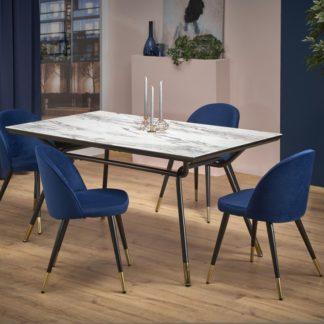 Jídelní stůl GLAMOUR mramor / černá Halmar
