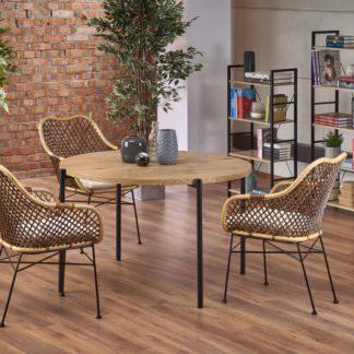 Jídelní stůl MORGAN dub zlatý / černá Halmar