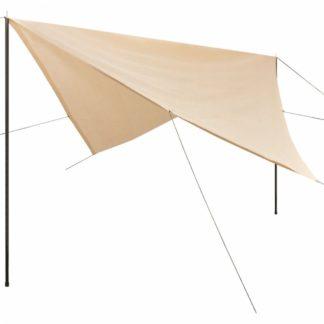 Plachta proti slunci s tyčemi čtvercová 5x5 m Krémová