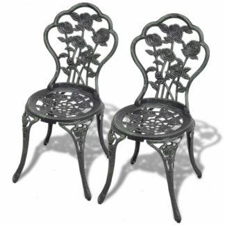 Zahradní bistro židle 2 ks litý hliník Zelená