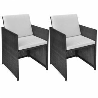 Zahradní židle s poduškami 2 ks polyratan Černá