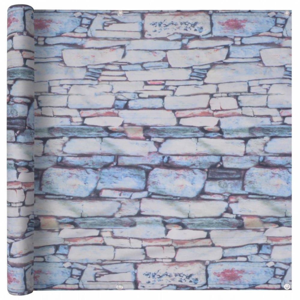 Balkónová zástěna 90 x 400 cm oxfordská látka Kamenná zeď