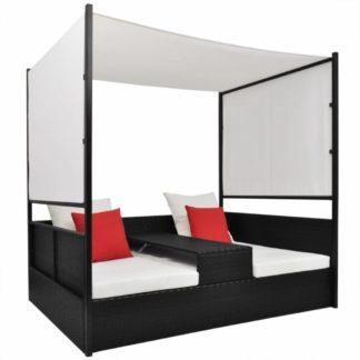 Ratanová postel s baldachýnem Černá