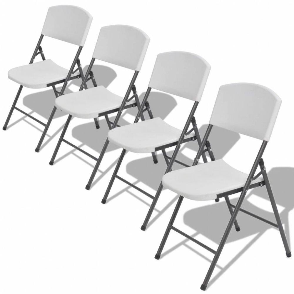 Skládací zahradní židle 4 ks bílá