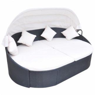 Zahradní ratanová postel se střechou Černá