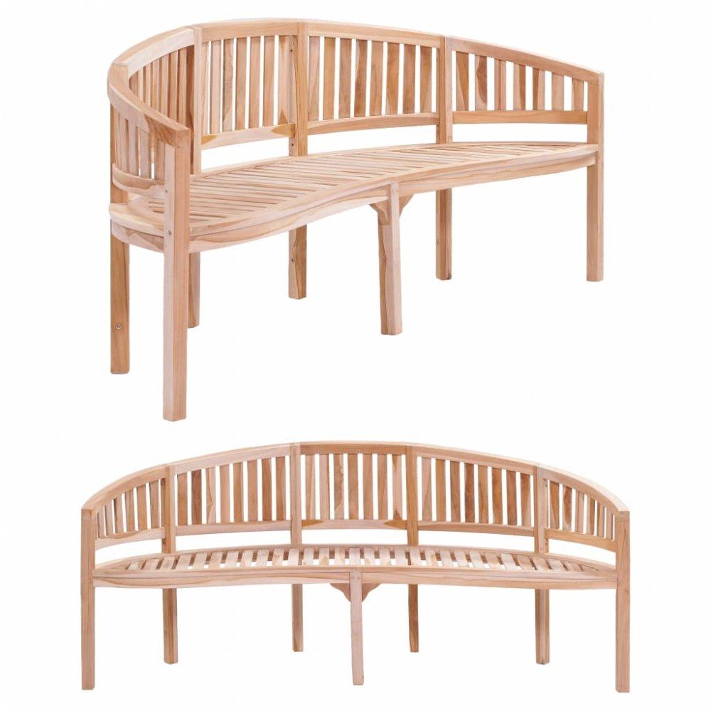 Zaoblená zahradní lavička 200 cm z teakového dřeva