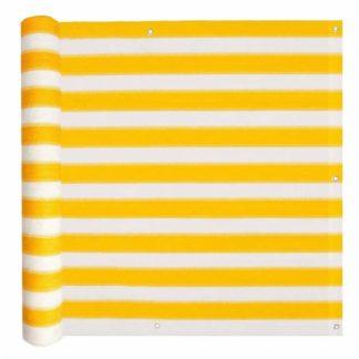 Balkónová zástěna HDPE 90 x 600 cm Bílá / žlutá