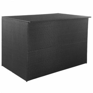 Zahradní úložný box polyratan Černá