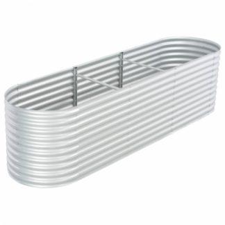 Zahradní truhlík 320 x 80 x 81 cm pozinkovaná ocel Stříbrná