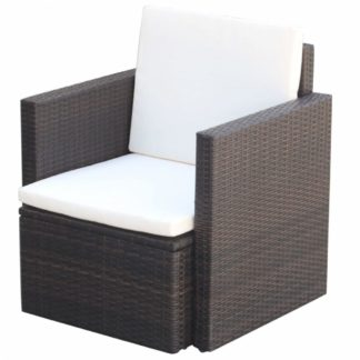 Zahradní židle s poduškami hnědá / krémová