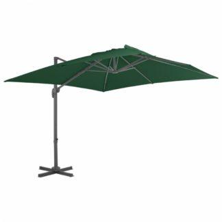 Konzolový slunečník s hliníkovou tyčí 400 x 300 cm Zelená