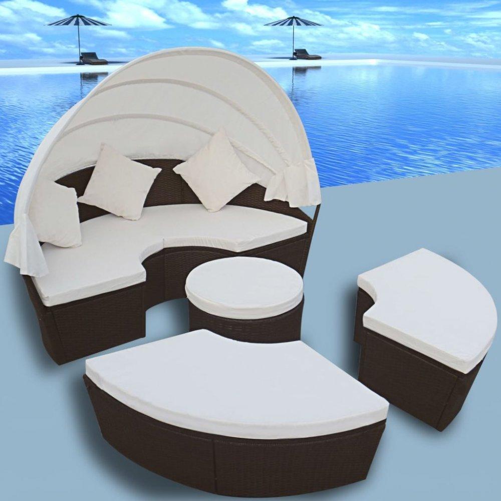 Zahradní postel s baldachýnem 12 ks polyratan Hnědá