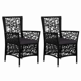 Zahradní židle 2 ks polyratan Černá