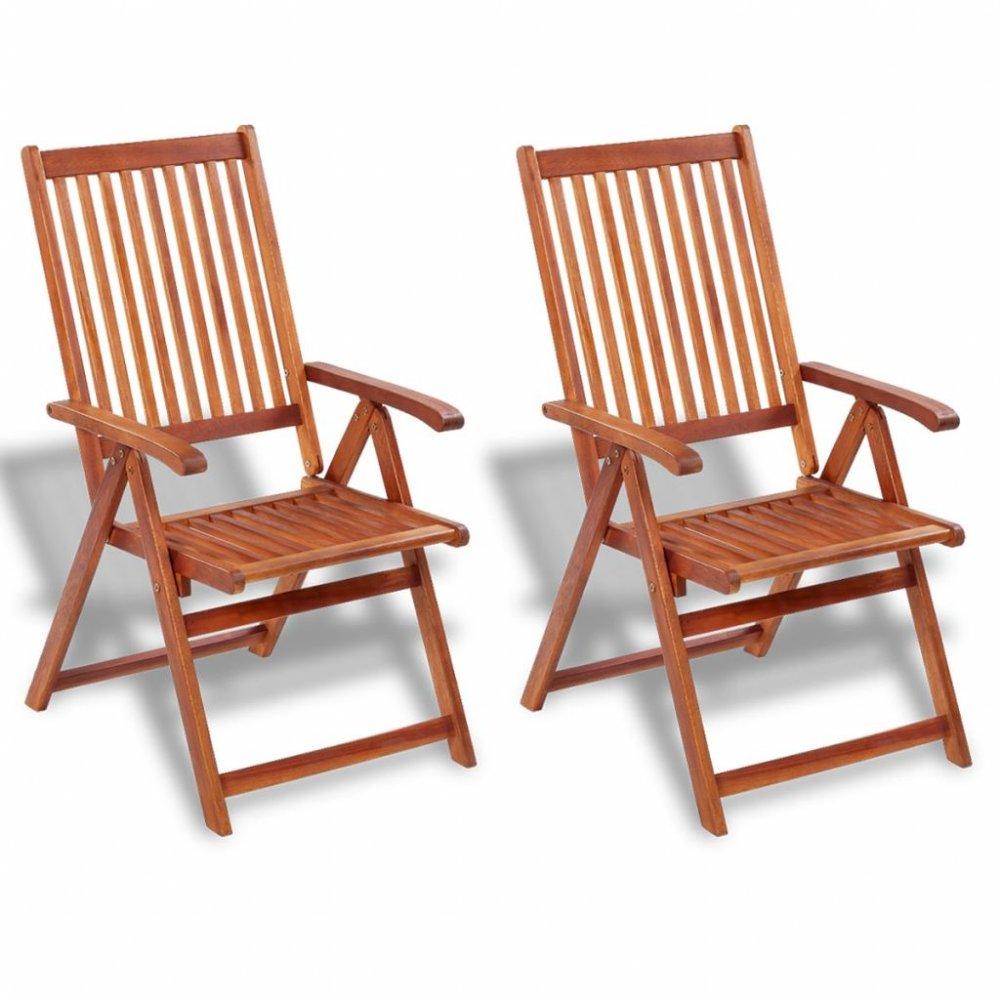 Zahradní polohovatelné židle 2 ks hnědá