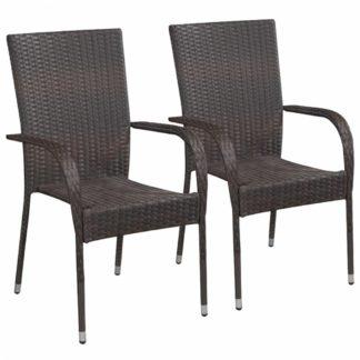 Zahradní stohovatelné židle 2 ks polyratan Hnědá