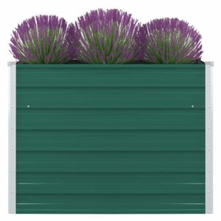 Vyvýšený zahradní truhlík 100 x 100 x 77 cm pozinkovaná ocel Zelená