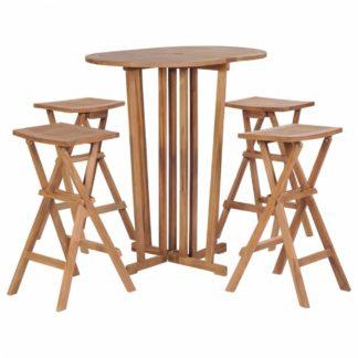 Skládací zahradní barový set 5 ks z teakového dřeva