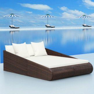 Zahradní ratanová postel Černá
