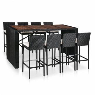 Zahradní barový set 9ks černý polyratan / akáciové dřevo