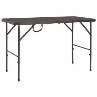 Skládací zahradní stůl 120x60 cm hnědá imitace ratanu