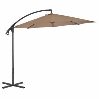 Konzolový slunečník s ocelovou tyčí Ø 300 cm Šedohnědá