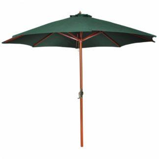 Zahradní slunečník s dřevěnou tyčí Ø 300 cm Zelená